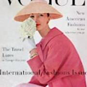 A Vogue Cover Of Evelyn Tripp Wearing Pink Art Print