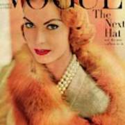 A Vogue Cover Of Mary Mclaughlin Wearing A Fox Art Print