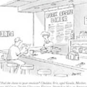 A Waitress Takes A Man's Order In A Diner Art Print