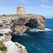 Xviii Defensive Tower In Alcafar Minorca - A Walk About Cliffs Art Print