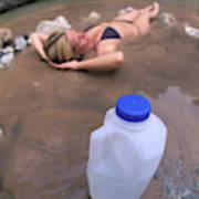 A Water Jug Near A Woman Soaking Art Print