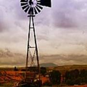 A Windmill And Wagon  Art Print by Jeff Swan