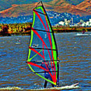 a WindSurfer's Gr8 Ride Print by Joseph Coulombe