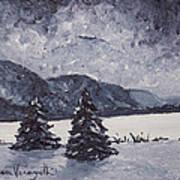 A Winter Evening Art Print by Monica Veraguth