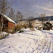 A Winter Landscape Lillehammer Print by Peder Monsted
