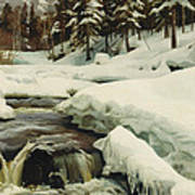A Winter Landscape With A Mountain Torrent Art Print