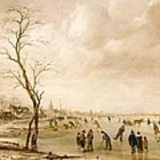 A Winter Landscape With Townsfolk Skating And Playing Kolf On A Frozen River Art Print by Aert van der Neer