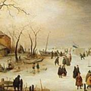 A Winter River Landscape With Figures On The Ice Art Print