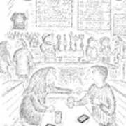 A Woman And Man Sit At A Table And The Woman Art Print