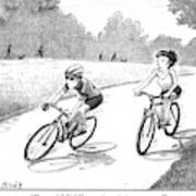 A Woman Casually Riding A Bicycle Addresses A Man Art Print