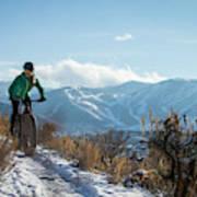 A Woman Fat Biking On The Trails Art Print