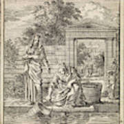 A Woman Fills A Bucket Of Water On A Jetty Art Print