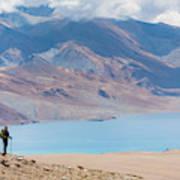 A Woman Is Hiking Toward Tsomoriri Art Print