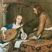 A Woman Playing The Theorbo-lute And A Cavalier Art Print by Gerard Terborch
