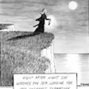 A Woman Runs In The Dark Toward A Cliff Art Print