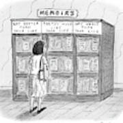 A Woman Stands In Front Of A Bookshelf Of Memoirs Art Print
