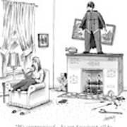 A Woman Talking On The Phone While A Man Art Print