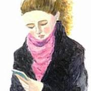 A Woman Texting W Cell Phone Art Print
