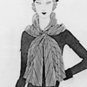 A Woman Wearing A Mainbocher Scarf Art Print