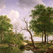 A Wooded River Landscape With Sportsmen In A Rowing Boat Art Print