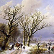 A Wooded Winter Landscape With Figures Art Print