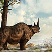 A Woolly Rhinoceros Trudges Art Print by Daniel Eskridge