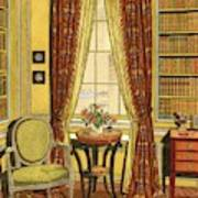 A Yellow Library With A Vase Of Flowers Art Print