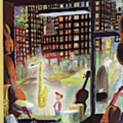 A Young Boy Admires A Saxophone Art Print
