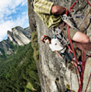 A Young Boy And Climbers In Yosemite Art Print
