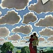 A Young Couple And Their Dogs On A Hilltop Art Print