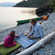 A Young Girl And Her Dad Enjoying Camp Art Print