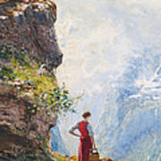 A Young Girl By A Fjord Art Print