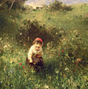 A Young Girl In A Field Art Print