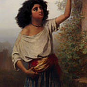 A Young Gypsy Woman With Tambourine  Art Print