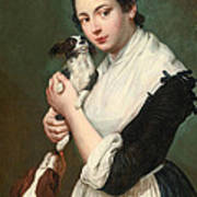 A Young Lady With Two Dogs Art Print