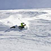 A Young Man Falls While Skiing Art Print