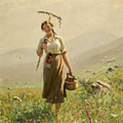 A Young Woman In The Meadow Art Print