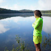 A Young Woman Looks Out Over Unna Lake Art Print