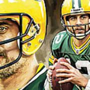 Aaron Rodgers Green Bay Packers Quarterback Artwork Art Print
