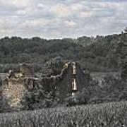 Abandon Stone House And Steeple  Art Print