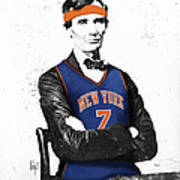 Abe Lincoln In A Carmelo Anthony New York Knicks Jersey Art Print