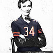 Abe Lincoln In A Walter Payton Chicago Bears Jersey Art Print