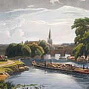 Abingdon Bridge And Church, Engraved Art Print