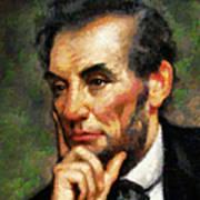 Abraham Lincoln - Abstract Realism Art Print