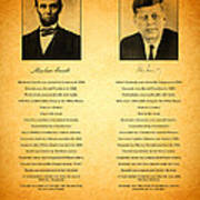 Abraham Lincoln And John F Kennedy Presidential Similarities And Coincidences Conspiracy Theory Fun Art Print