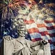 Abraham Lincoln Fireworks Art Print