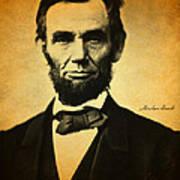 Abraham Lincoln Portrait And Signature Art Print