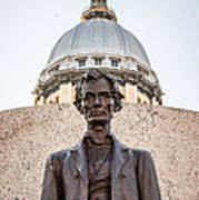 Abraham Lincoln Statue At Illinois State Capitol Print by Paul Velgos