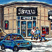 Montreal Art Exhibit At Java U Carole Spandau Montreal Street Scenes Paintings Hockey Art  Art Print