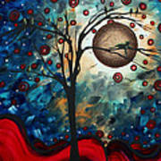 Abstract Art Contemporary Cat Bird Circle Of Life Collection Cat Perch By Madart Art Print